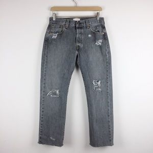 Vintage Levi's 501s distressed cropped grey wash